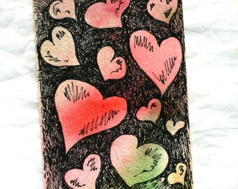 Valentine heart aceo and gift tag with ribbon, original mini watercolor romantic art, pen and ink, red green black, wedding anniversary art