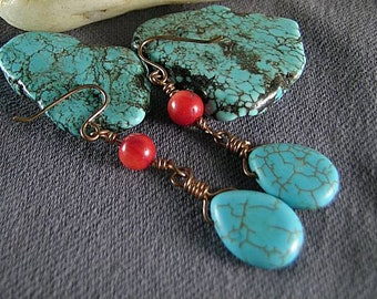Turquoise Teardrop and Coral  Earrings - Tribal Native American - Egyptian