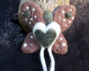 Gnome Wings Fairy - Fawn, OOAK needle felted fairy doll