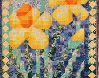 Quilt Pattern - Daffodil Mosaic Art Quilt Pattern - Immediate Download PDF