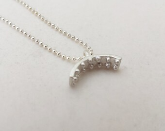 Geometric minimal Sterling silver 925 necklace arch pendant with dots unique