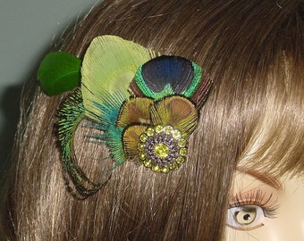 Teal Blue Green and Lime Feather Fascinator  Ready to Ship