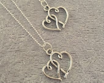 Silver Entwined Hearts Necklace or Necklaces on an 18 Inch Chains