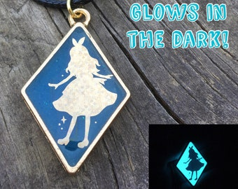 Glowing Fairy Tale Necklace, Bezel Necklace, Holographic Necklace, Pendant Necklace, Gift for Her, Fantasy Jewelry, Fairy Tale Jewelry, Cute
