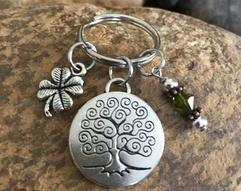 Tree of life keychain with good luck clover, and olive green crystal - graduation and or Mother's Day gifts