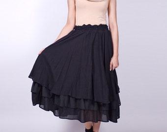 White Sand Beach - Black - Long Layers Skirt - idea2love