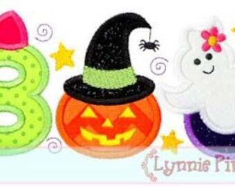 GIRLY BOO Applique 4x4 5x7 6x10 Machine Embroidery Design Halloween pumpkin