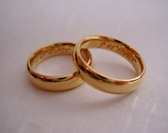22k solid Gold classic wedding band set  with custom engravings inside.