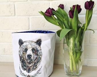 Textile basket Forest Bear