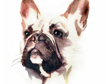 Custom Dog Portrait Custom Pet Portrait Bulldog Portrait Dog Painting Custom Dog Painting Dog Memorial Dog Portrait Watercolor Dog Painting