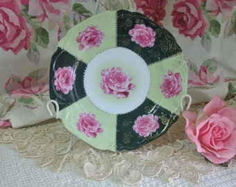 Germany Porcelain Hand Painted Pink Roses Plate, Cottage, Shabby Chic