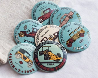 Seven auto pins_car badges_set of seven_vintage collectibles_transport badges_old retro cars_gift for driver_blue ivory_gift for him boy