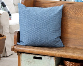 """quilted denim pillow cover - 20 x 20"""" pillow slipcover - ready to ship"""