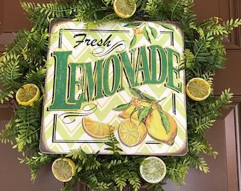 Lemonade Wreath. Farmhouse Wreath. Grapevine Wreath. Rustic Wreath. Front Door Wreath. Lemon Wreath. Summer wreath. Greenery Wreath