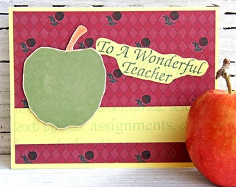 Thank You Card for Teacher at End of School Year - Handmade Greeting Card for Teacher Appreciation with Green Apple - To a Wonderful Teacher