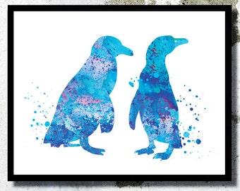 Penguins painting Penguin Watercolor Print Penguins poster Penguins love Penguins illustration Children Nursery decor