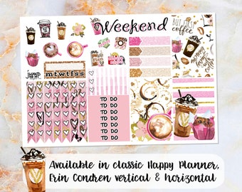 Coffee sampler stickers - for Happy Planner, Erin Condren Vertical and Horizontal Planners - pink fun donuts