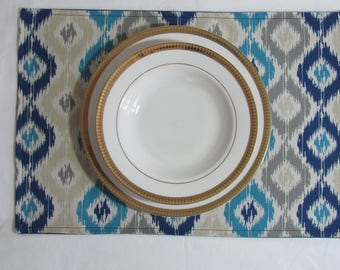 Handmade Set of 6 Blue Placemats, Blue and Beige Placemats, Shades of Blue Placemats, Blue Placemats, Dark Blue Placemats, Lt Blue Placemats