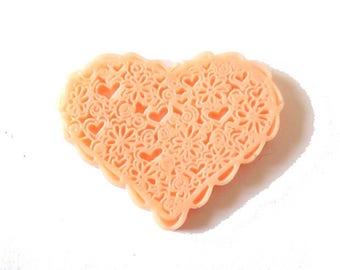 1 x cabochon embellishment resin heart lace 38mm peach PASTEL