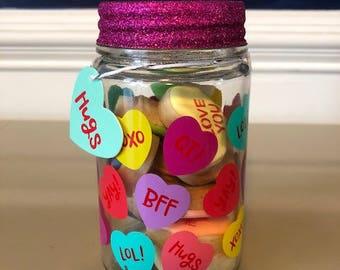 Mini conversation heart cookies in Valentine jar