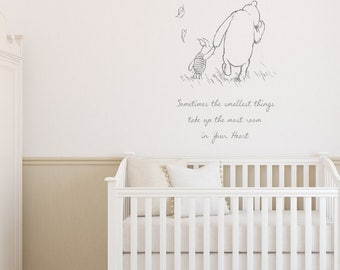 Sometimes the smallest things take up the most room in your heart, Winnie the pooh wall art sticker, Children's room bedroom, play room