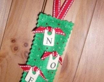 SAMPLE SALE - Handmade NOEL ornament
