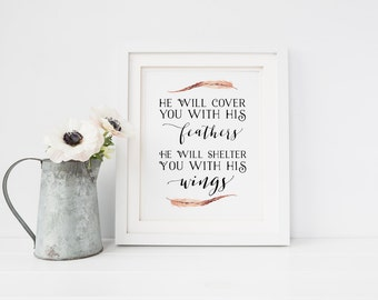 He will shelter you with His wings Psalm 91:4 Feather Bible Verse Print Christian Nursery Art Scripture Calligraphy Printable Bible Verse