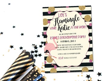 Printable flamingo bachelorette invitation / flamingle bachelorette invite / let's flamingle invite / beach bachelorette / flamingo invite