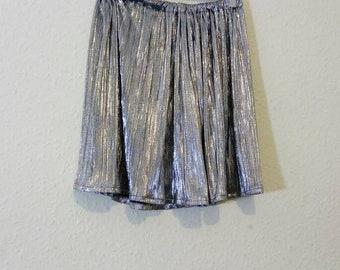 Handmade silver micro pleated skirt