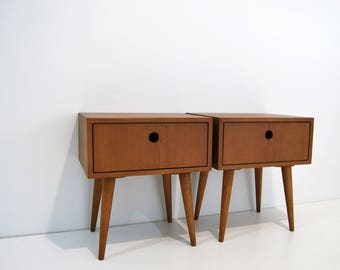 Pair of Nightstand, night stand, bedside table, bed side table, side table with one drawer, scandinavian design, mid century modern