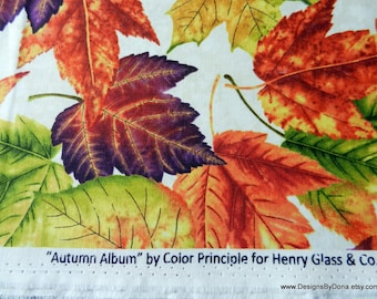 "One Half Yard Cut of Quilt Fabric, ""Autumn Album"" Large Colorful Leaves by Color Principle for Henry Glass, Sewing-Quilting Supplies"