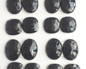 Black Spinel Briolette Set, one set of oval and cushion shaped faceted briolette