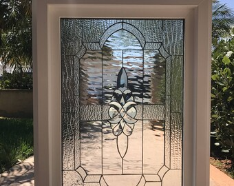 """Vinyl Framed and Tempered Glass Insulated!!   The """"Calistoga""""  Stained Glass & Beveled Window"""