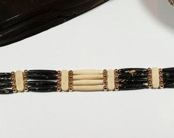 Antiqued Bone and Black 4 Row Native Choker
