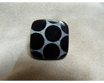 Acrylic - black and white square button