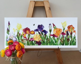 Wren in the Irises - Limited edition Giclee Print - Free Postage