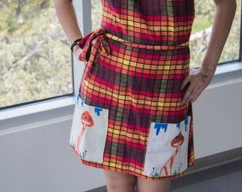 Warp Around Dress with Original Mushroom Art Pockets
