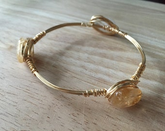 Wire Wrapped Stone Bangle   Wire Wrapped Citrine Honey Stone Bracelet   Stone Bangle   Stone Bracelet