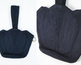 1940s Corde Purse // Vintage Navy Purse // 1940s Navy Bag // 40s Gimp Purse // 40s Handbag // 1940s Vintage Accessories // Wartime Fashion