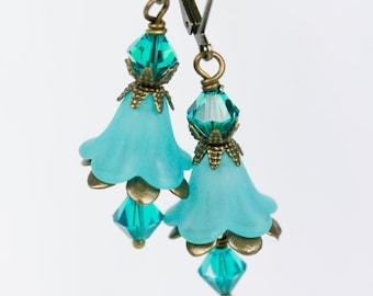 Teal Flower Earrings, Lucite flower earrings, Brass earrings, Handmade flower earrings, Made in Michigan