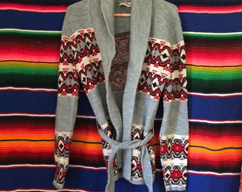 70s Southwestern Hippie Gray and Red Wrap Cardigan Size Medium