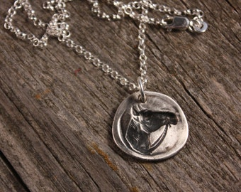 Sterling Silver Horse Wax Seal Charm