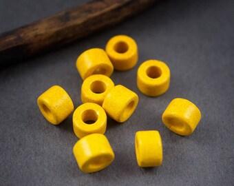 10 pcs - beads, rondelles, mini tube Mykonos ceramic yellow - 6mm x 4mm