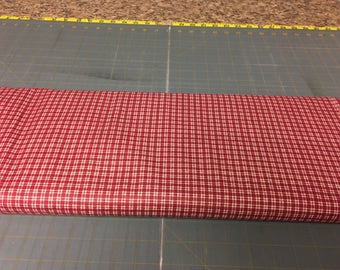 no. 1021 Dark red mini plaids Fabric by the yard
