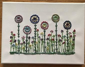 Hand Embroidered: Wild Flower Garden