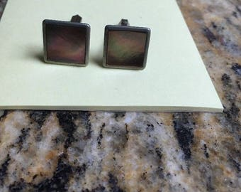 1970s Cufflinks set Silvertone square with pearloid