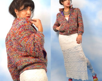 Vintage 80s 90s Rainbow Knit Bomber Jacket with Quilted Lining (size small, medium)