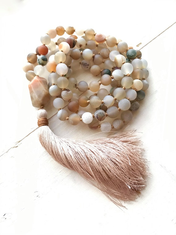 JOY OF LIFE - Mala Beads - Joyfulness Mala Necklace - Sunstone Mala Beads - Druzy Agate Mala Necklace -  108 Bead Mala - Choose Your Tassel