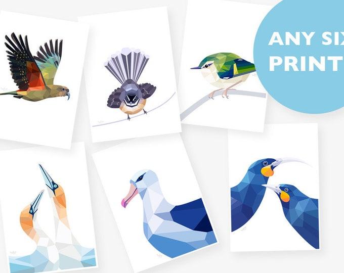 Set of 6 A4 prints, Any 6 prints, Print set, Geometric animal art, Baby room art, Nursery art, New Zealand art, Kea print, Bird illustration