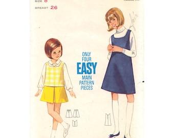 Girls Jumper or Top & Skirt Pattern Butterick 4573 Scoop Neck Jumper or Top Inverted Pleat Skirt Girls Sewing Pattern Size 8 Vintage Pattern